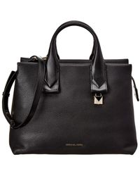 MICHAEL Michael Kors Rollins Large Leather Satchel - Black
