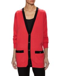 Chanel Vintage Cashmere Colorblocked Cardigan - Red