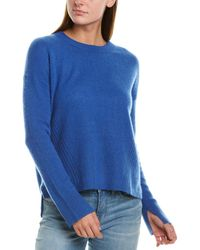 White + Warren Drop-shoulder Cashmere Crew Jumper - Blue