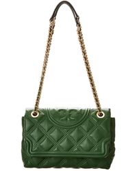 Tory Burch Fleming Soft Convertible Leather Shoulder Bag - Green