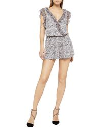 BCBGeneration - Carved Blooms Surplice Romper - Lyst