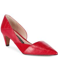 French Connection   Tessi Red Konelli Mixed Media Pointed Toe D'Orsay Pumps   Lyst