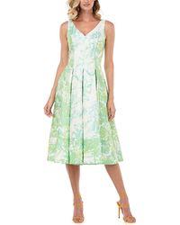 Kay Unger Taylor Abstract Jacquard Midi Dress - Green