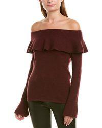 Qi Off-the-shoulder Cashmere Jumper - Red