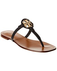 Tory Burch - Miller Logo Leather Thong Sandals - Lyst