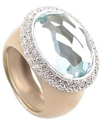 Pomellato 18k Rose Gold 1.12 Ct. Tw. Diamond & Aquamarine Ring - Metallic