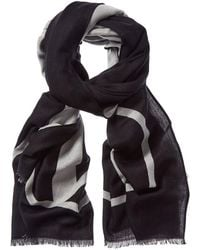 Valentino Valentino Garavani V Logo Wool, Cashmere, & Silk-blend Scarf - Black