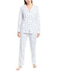 Eileen West Floral Print Jersey Knit Pyjama Set - White