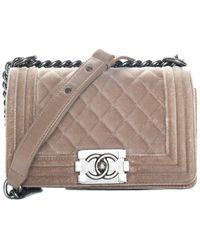 Chanel Beige Quilted Velvet Boy Bag - Natural