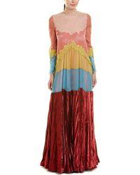 Valentino Garavani Pleated Silk-blend Gown