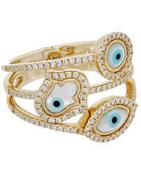 3e7ee35da90ff . Fine Jewellery 14k 0.37 Ct. Tw. Diamond Evil Eye & Hamsa Ring - Metallic