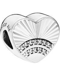 PANDORA Silver Cz Fan Of Love Charm - Metallic