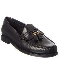 Celine Luco Triomphe Leather Loafer - Black