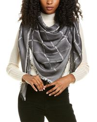 Longchamp Longchamp Fringe Wool & Silk-blend Scarf - Black