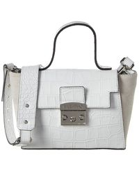 Valentino By Mario Valentino Camy Croc-embossed Leather & Suede Satchel - White