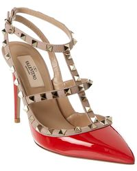 Valentino Rockstud Caged 100 Patent Ankle Strap Pump - Red
