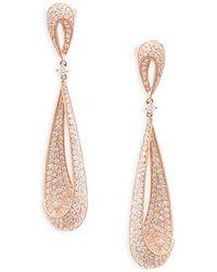Effy - Diamond And 14k Rose Gold Drop Earrings, 3.3 Tcw - Lyst