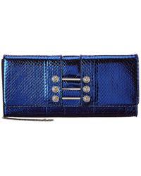 Versus Versus By Versace Snake-embossed Leather Crossbody - Blue
