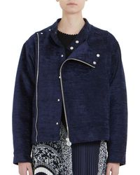 Carven Crushed Velvet Moto Jacket - Blue