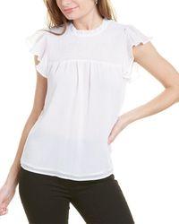 Laundry by Shelli Segal Flutter Sleeve Blouse - White