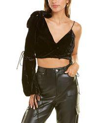 For Love & Lemons One-shoulder Silk-blend Viva Top - Black
