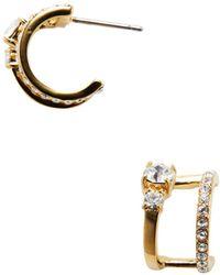 Kate Spade - Stone Double Hoop Earrings - Lyst
