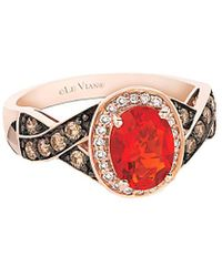 Le Vian 14k Rose Gold 0.99 Ct. Tw. Diamond & Fire Opal Ring - Red
