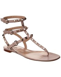 Valentino Rockstud Caged Leather Thong Sandal - Brown