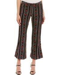 Anna Sui Chenille Floral Jacquard Pant - Black