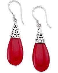 Samuel B. Silver Coral Drop Earrings - Red