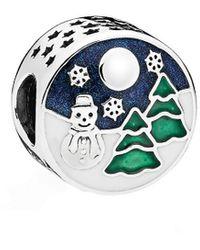 PANDORA Silver Enamel Snowy Wonderland Charm - Blue