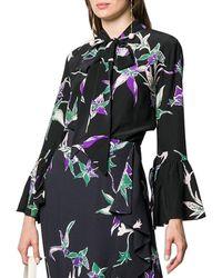 La DoubleJ Happy Wrist Floral Silk Top - Black
