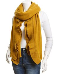 White + Warren Cashmere Ruffle Wrap - Yellow