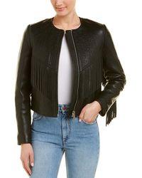 Isabel Marant Fringe Silk-trim Leather Jacket - Black
