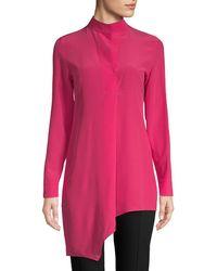 Akris Asymmetric Silk Button-down Shirt - Pink