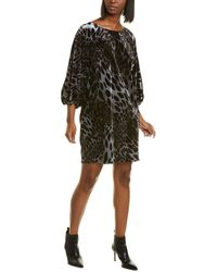 N Natori Natori Printed Velvet Mini Dress - Black