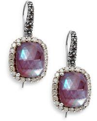 Stephen Dweck Verona Mother-of-pearl, Diamond, Garnet & Sterling Silver Doublet Drop Earrings