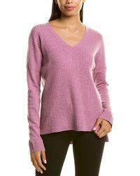 RAFFI Oversize Ribbed Cashmere V-neck Sweater - Purple