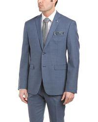 Original Penguin 2pc Wool-blend Suit With Flat Front Pant - Blue