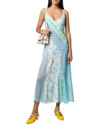RIXO London Denise Patchwork Floral Silk Slip Dress - Blue