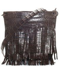 Nancy Gonzalez Brown Crocodile Leather Fringe Crossbody