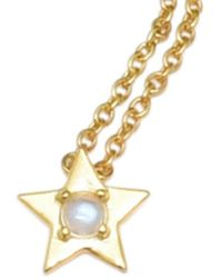 Adornia 14k Plated 0.30 Ct. Tw. Moonstone Star Necklace - Metallic