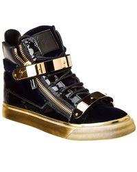 Giuseppe Zanotti Velvet & Leather High-top Sneaker - Black