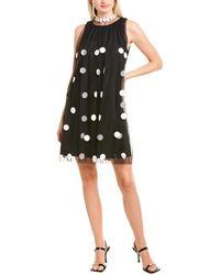 Gracia Sheer Dot Shift Dress - Black