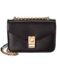 Celine C Medium Leather Shoulder Bag - Black