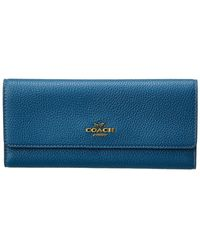 COACH Soft Trifold Leather Wallet - Blue
