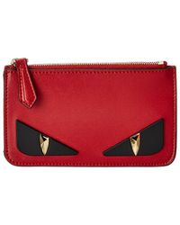 Fendi Leather Key Ring Pouch - Red