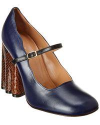 Marni Mary Jane Leather Pump - Blue