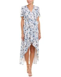Parker Printed Wrap Dress - Blue