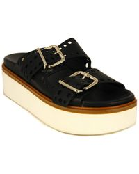 Tod's Tod?s Drilled Strap Leather Sandals - Black